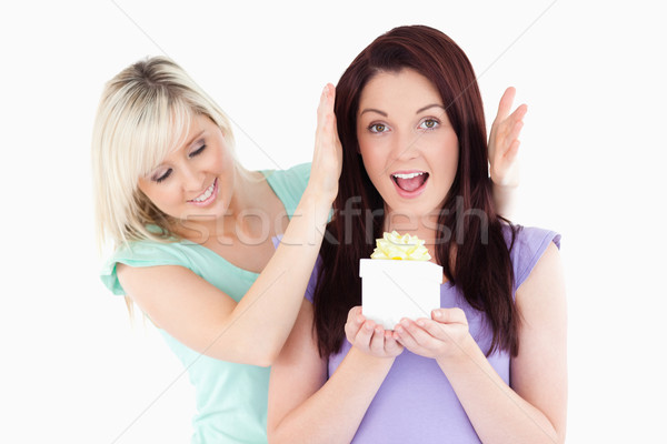 Joyful woman gifting her friend in a studio Stock photo © wavebreak_media