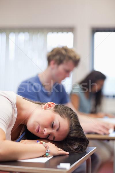 Ritratto stanco studente dormire classe donna Foto d'archivio © wavebreak_media