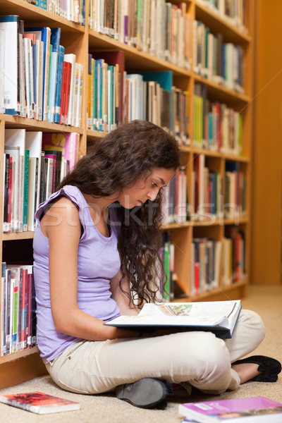 Portrait of a female student reading a book in a library Stock photo © wavebreak_media