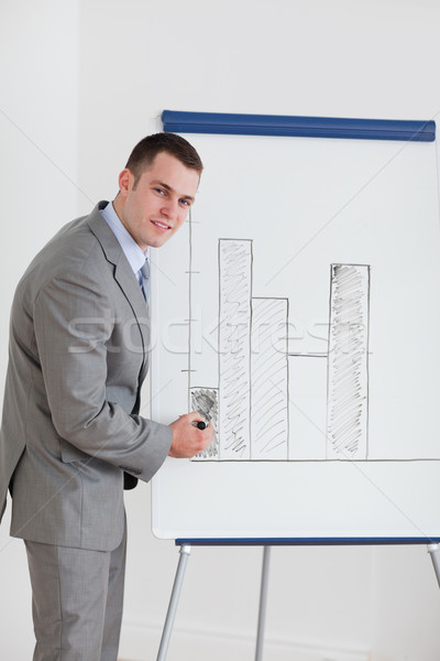 Smiling businessman editing diagram Stock photo © wavebreak_media
