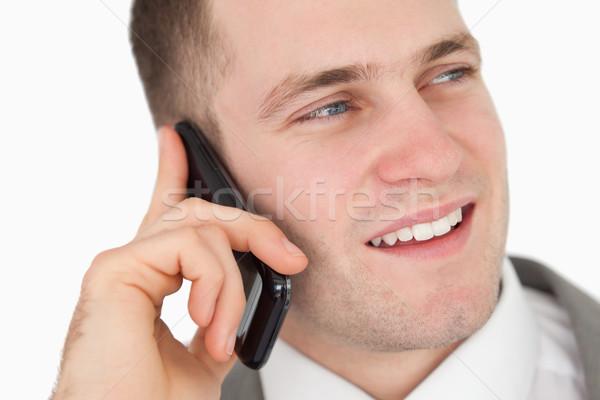 Knap ondernemer telefoongesprek witte Stockfoto © wavebreak_media