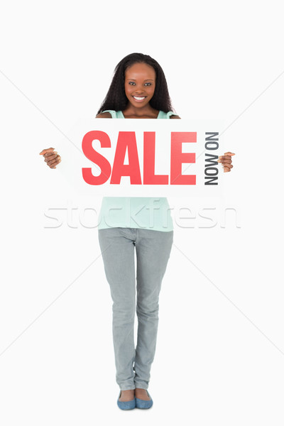 Gülümseyen kadın beyaz mutlu arka plan Stok fotoğraf © wavebreak_media