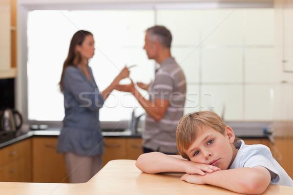Szomorú kicsi fiú szülők veszekedik konyha Stock fotó © wavebreak_media