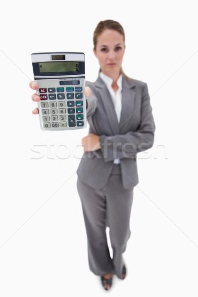 Zdjęcia stock: Banku · pracownika · strony · Kalkulator · biały