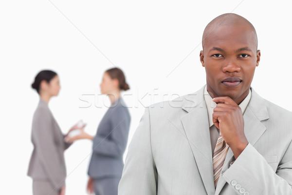 Denken zakenman collega's achter witte business Stockfoto © wavebreak_media