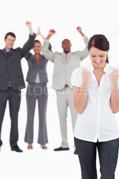 торжествующий деловая женщина коллеги за белый Сток-фото © wavebreak_media