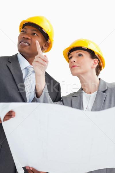 деловые люди говорить бумаги улыбка Сток-фото © wavebreak_media