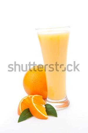 Stockfoto: Glas · sinaasappelsap · witte · vruchten · achtergrond · oranje