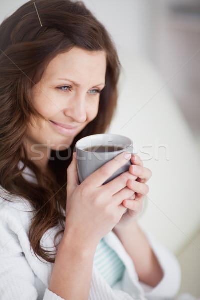 женщину кружка кофе гостиной синий Сток-фото © wavebreak_media
