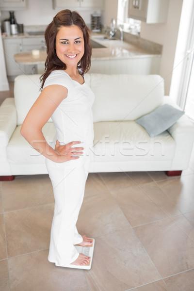 Сток-фото: женщина · улыбается · Постоянный · Весы · домой · дома · фитнес