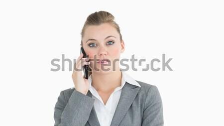 Photo stock: Femme · d'affaires · appelant · téléphone · portable · téléphone · costume · communication
