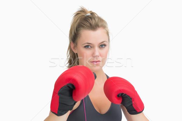 Gericht vrouw bokshandschoenen lichaam sport Stockfoto © wavebreak_media