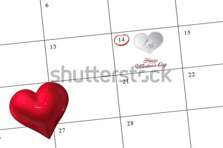 Rosa confetti cuore san valentino bianco calendario Foto d'archivio © wavebreak_media