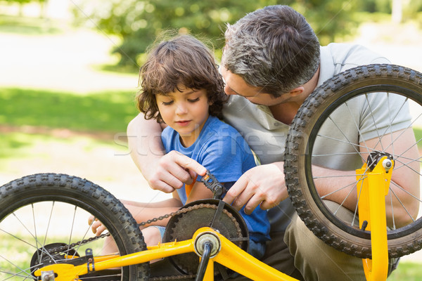 Father and son fixing bike Stock photo © wavebreak_media