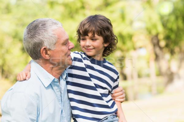 Dede oğul gülen park portre sevmek Stok fotoğraf © wavebreak_media
