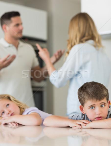 Szomorú gyerekek dől asztal szülők veszekedik Stock fotó © wavebreak_media