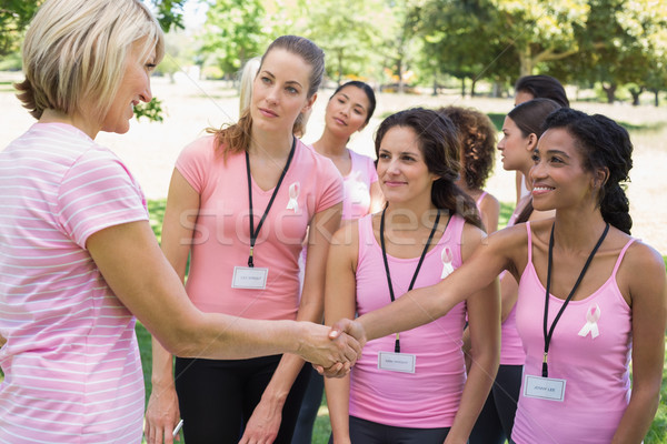 参加者 握手 乳癌 認知度 公園 ストックフォト © wavebreak_media