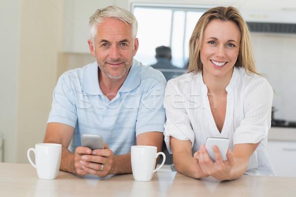 快樂 情侶 坐在 對付 家 商業照片 © wavebreak_media