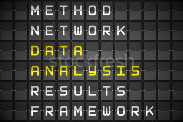 Data analysis buzzwords on black mechanical board Stock photo © wavebreak_media