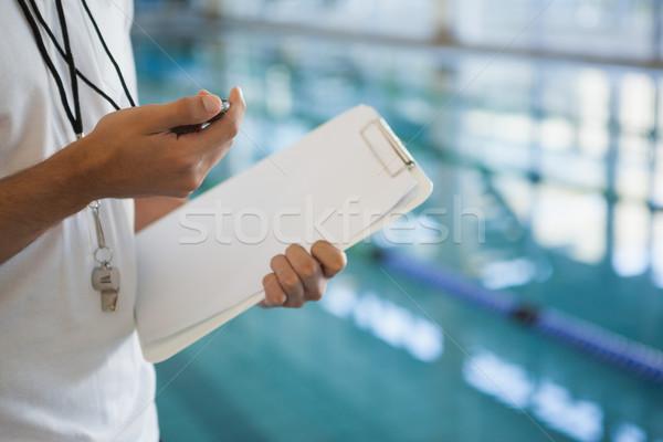 Yüzme koç bakıyor kronometre havuz boş Stok fotoğraf © wavebreak_media