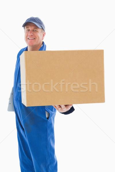 Feliz mensajero caja de cartón blanco cuadro Foto stock © wavebreak_media