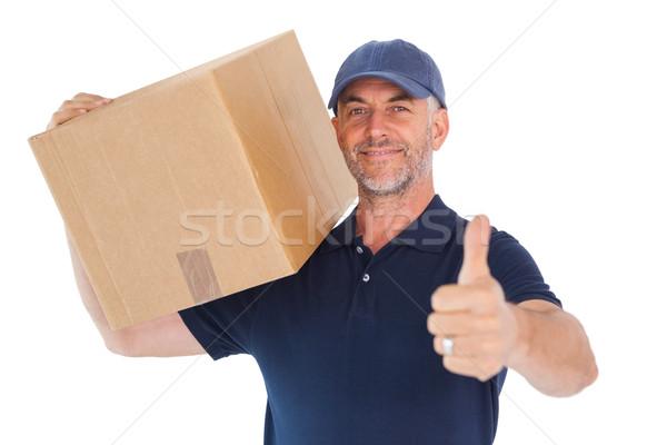 Feliz mensajero caja de cartón Foto stock © wavebreak_media
