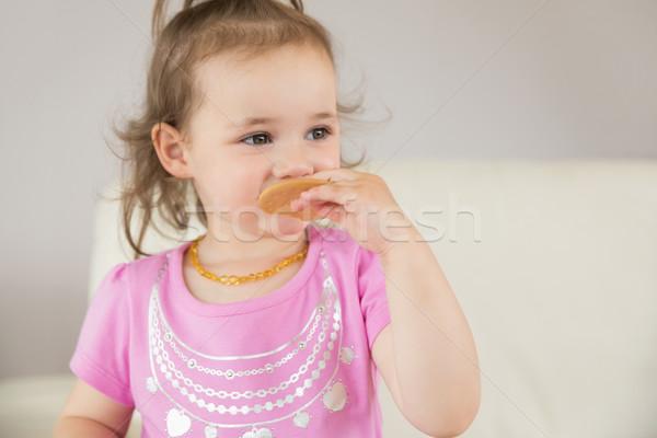 Közelkép aranyos lány eszik keksz kislány Stock fotó © wavebreak_media