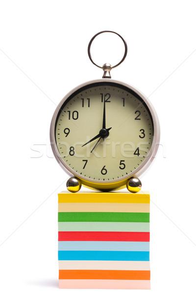 Alarm clock on pile of sticky notes Stock photo © wavebreak_media