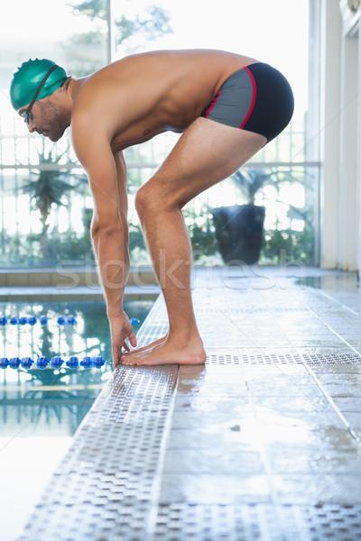соответствовать пловец погружение бассейна вид сбоку отдыха Сток-фото © wavebreak_media