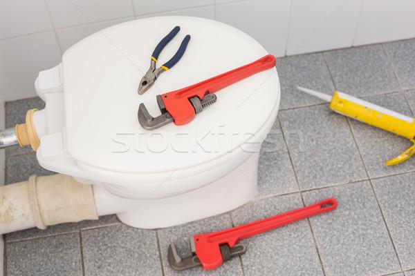 Csövek szerszámok wc fürdőszoba kő padló Stock fotó © wavebreak_media