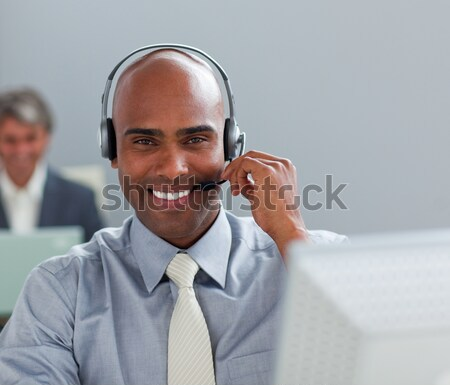 Feliz empresário fone tecnologia camisas apoiar Foto stock © wavebreak_media
