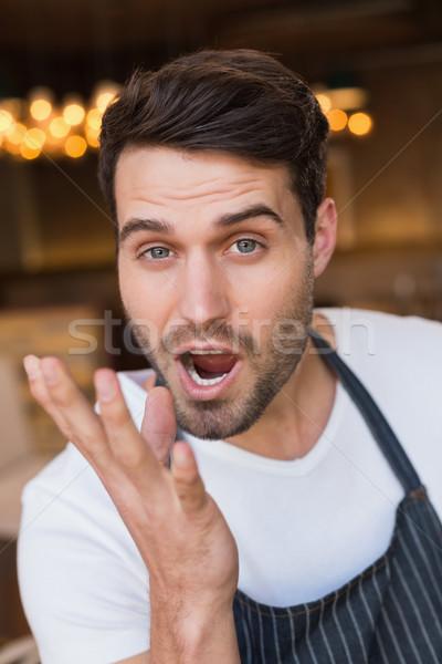 Gut aussehend Kellner lecker Geste Kaffeehaus Stock foto © wavebreak_media