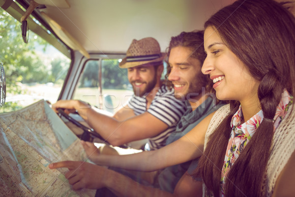 Stock photo: Hipster friends on road trip