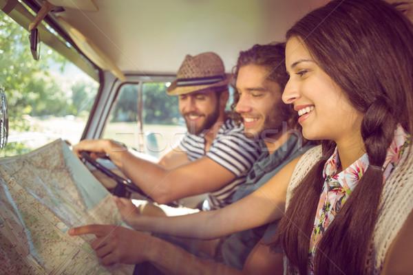 Hipszter barátok út utazás autó férfi Stock fotó © wavebreak_media
