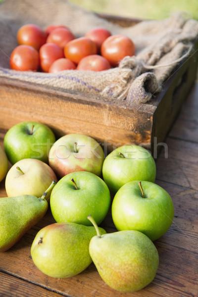 Asztal friss zöldségek piac napos idő gyümölcs Stock fotó © wavebreak_media