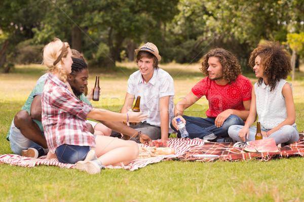 Felice amici parco picnic donna Foto d'archivio © wavebreak_media