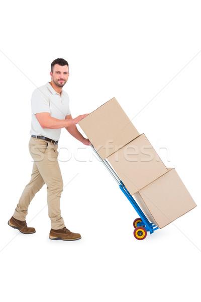 Futár toló dobozok fehér férfi doboz Stock fotó © wavebreak_media