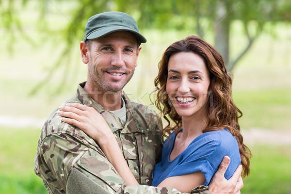 Handsome soldier reunited with partner Stock photo © wavebreak_media
