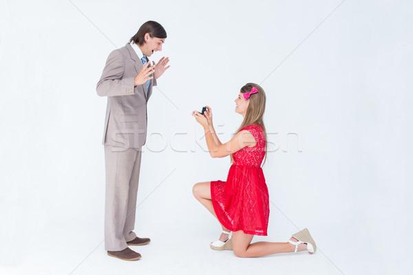 Dość kolano małżeństwa wniosek chłopak Zdjęcia stock © wavebreak_media