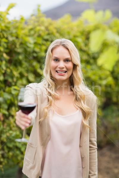 Jovem feliz mulher vidro vinho Foto stock © wavebreak_media