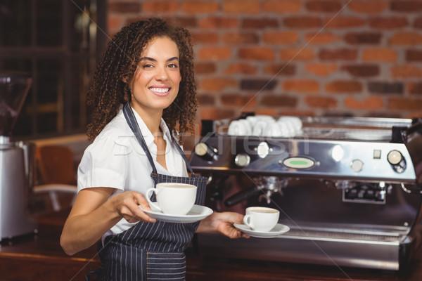 Glimlachend barista twee koffie Stockfoto © wavebreak_media