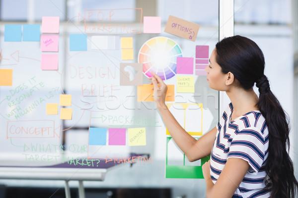 Businesswoman looking at plan on wall Stock photo © wavebreak_media