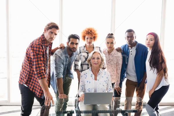 Portré komoly kreatív üzleti csapat iroda üveg Stock fotó © wavebreak_media