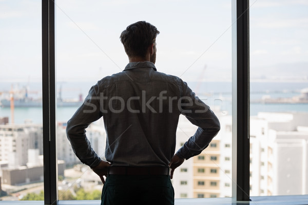 Thoughtful male executive looking through window in office Stock photo © wavebreak_media