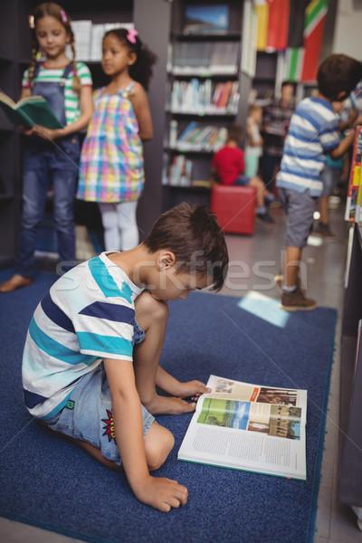 Stock fotó: Figyelmes · iskolás · fiú · olvas · könyv · könyvtár · iskola
