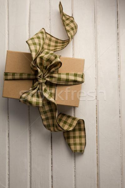 Overhead view of gift box on table Stock photo © wavebreak_media