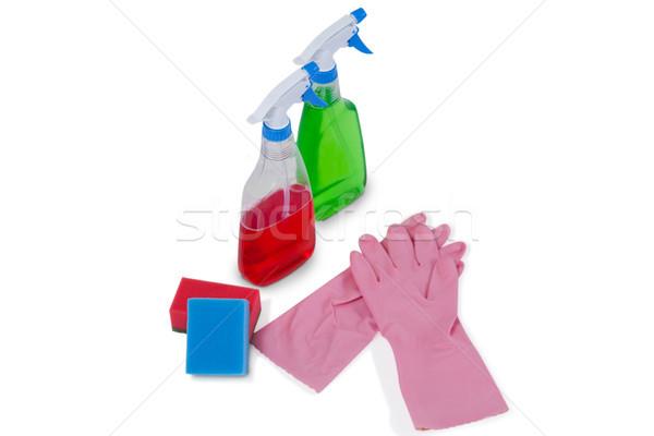 Mosószer spray üvegek szivacs gumi kesztyű Stock fotó © wavebreak_media