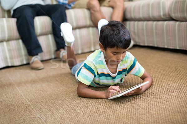 мальчика таблетка ковер отец деда сидят Сток-фото © wavebreak_media