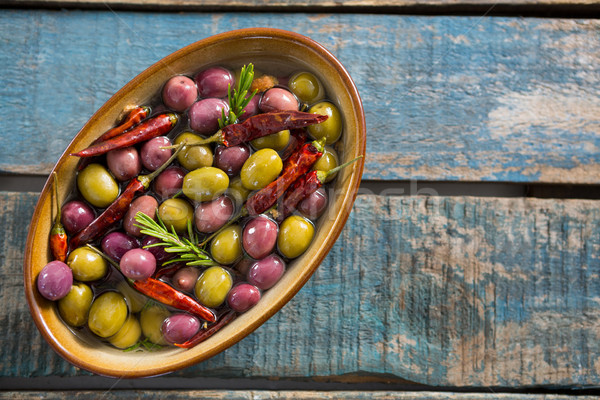 Close-up of pickled olives in bowl Stock photo © wavebreak_media