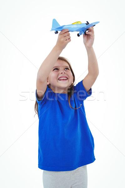 Stock foto: Cute · Mädchen · spielen · Flugzeug · weiß · Bildschirm